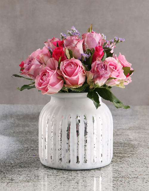 teachers-day: Passion Pink Roses in White Vase!