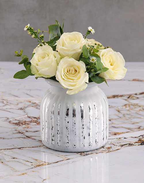 baby: White Roses In Grey Vase!