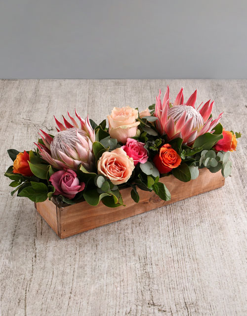 anniversary: Coral King Protea and Rose Arrangement!
