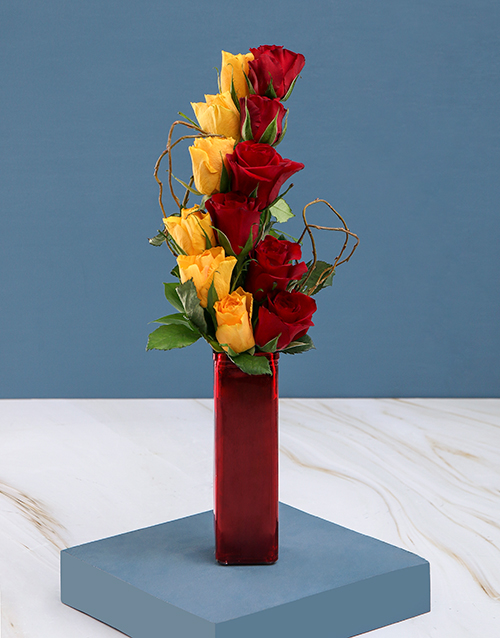 roses: Red and Yellow Roses in Vase!