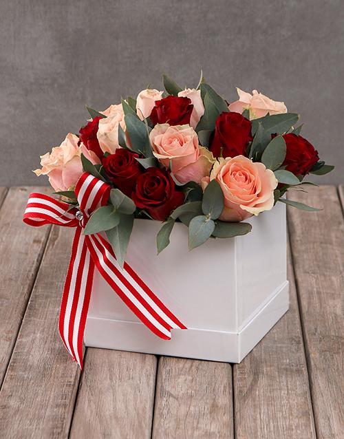 roses: Mixed Rose Blush in Cream Square Box!