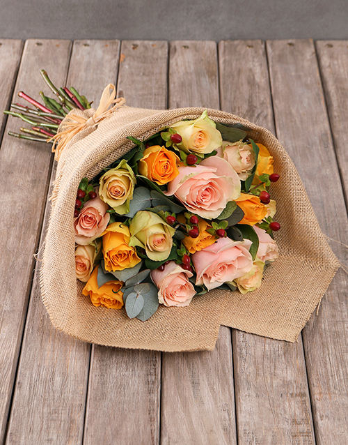 flowers: Mixed Radiant Roses in Hessian Wrapping!