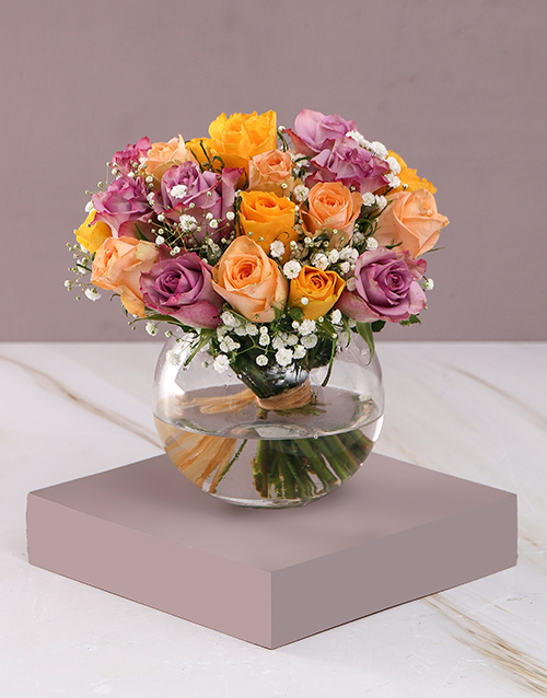 teachers-day: Sensational Mixed Roses in Clear Bowl!