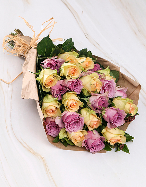 flowers: Vintage Mixed Roses in Brown Paper Wrapping!