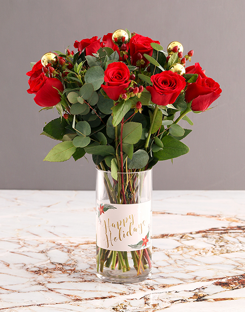 christmas: Red Roses in Happy Holiday Vase!
