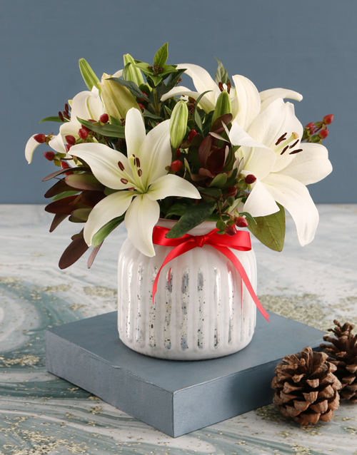 lilies: White Asiflorum Lilies in Dainty White Vase!