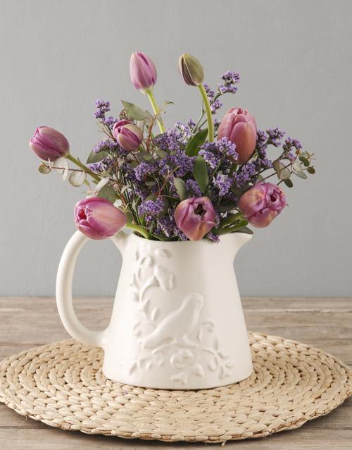 tulips: Purple Tulips In Birdie Jug!