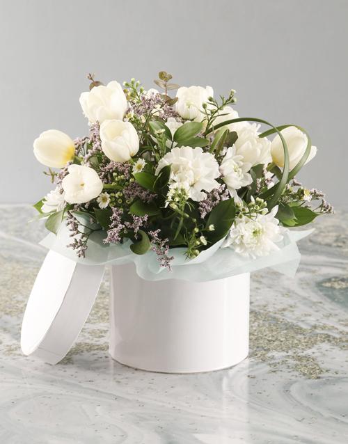 tulips: White Tulip In White Hat Box!