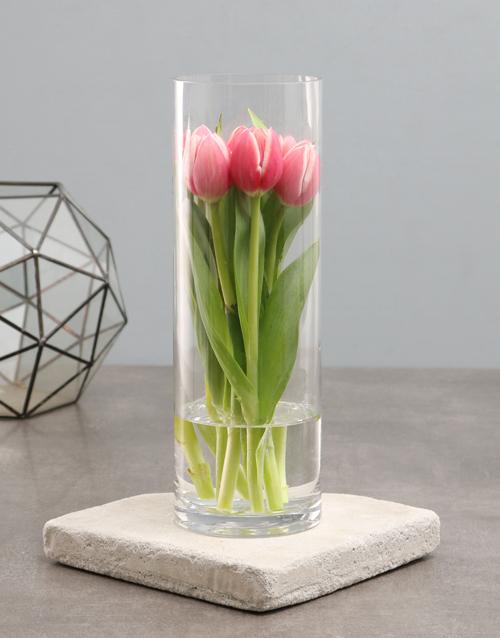 tulips: Standing Tulips In Cylinder Vase!