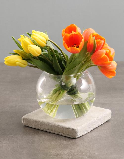 tulips: Yellow And Orange Tulips In Fish Bowl Vase!