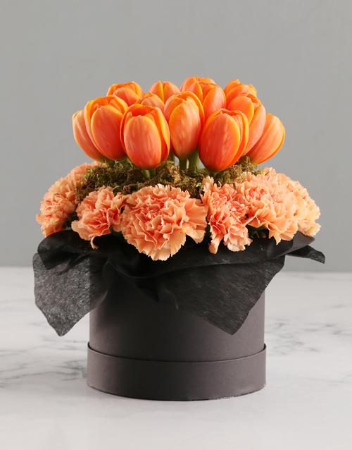 tulips: Orange Tulips In Hat Box!