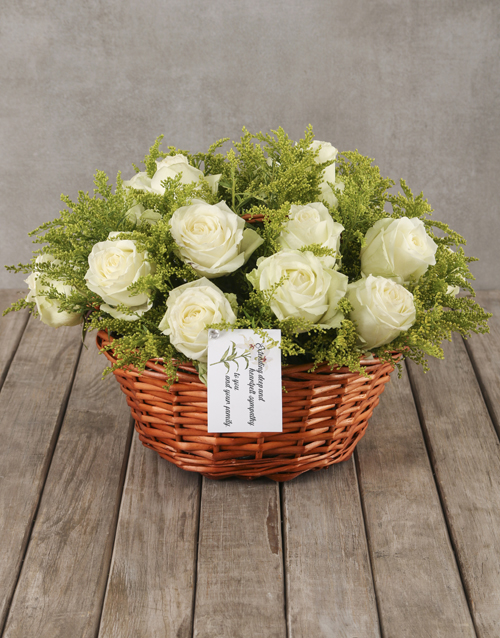 sympathy: Compassionate White Roses in Willow Basket !