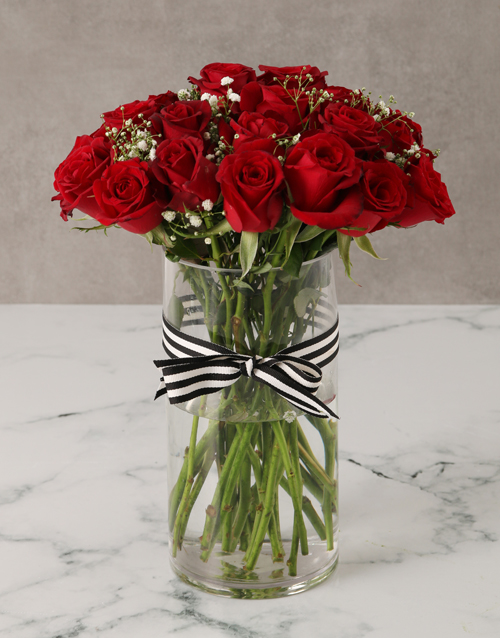 whats-new: Royal Red Rose Bouquet in a Vase!