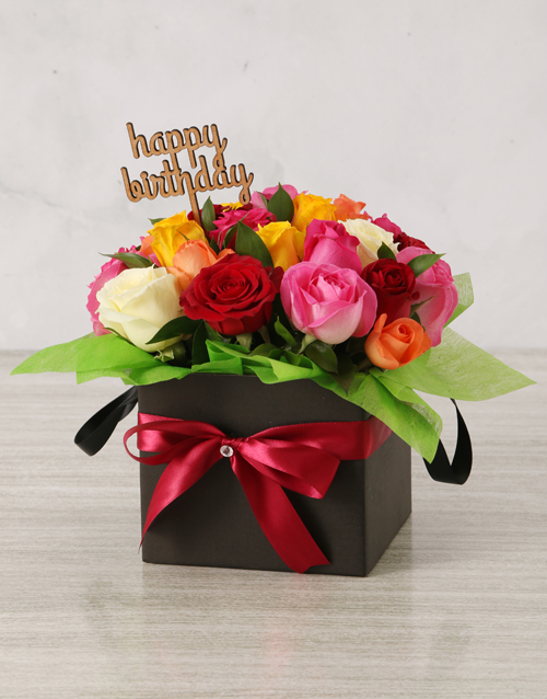 roses: Bright Birthday Mixed Rose Box!
