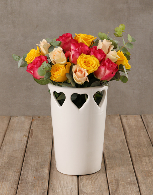 teachers-day: Vibrant Blooms in Cut Out Heart Vase!