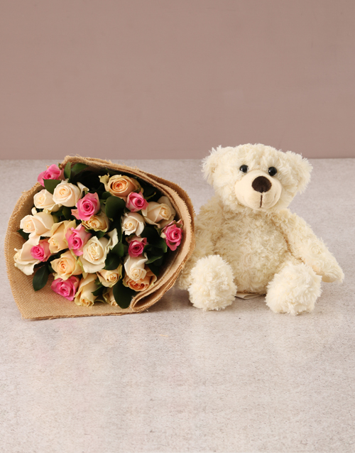 teachers-day: Delicate Pastel Blooms with Teddy!
