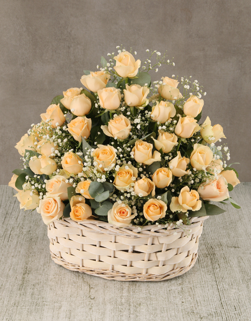 sympathy: Cream Roses in Wicker Basket!