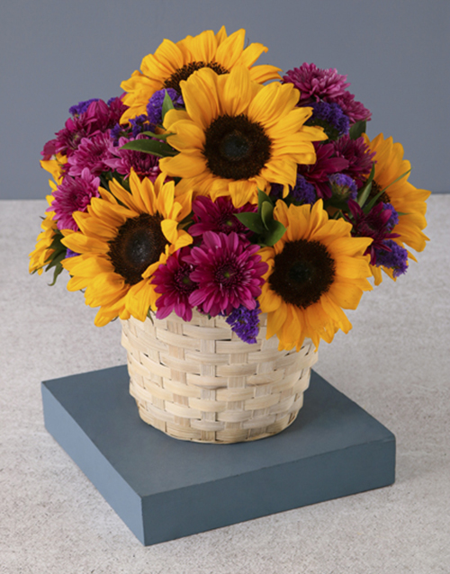 birthday: Sunflower Surprise In White Basket!