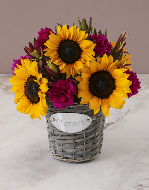 teachers-day: Sunny Floral Mix In Flower Basket!