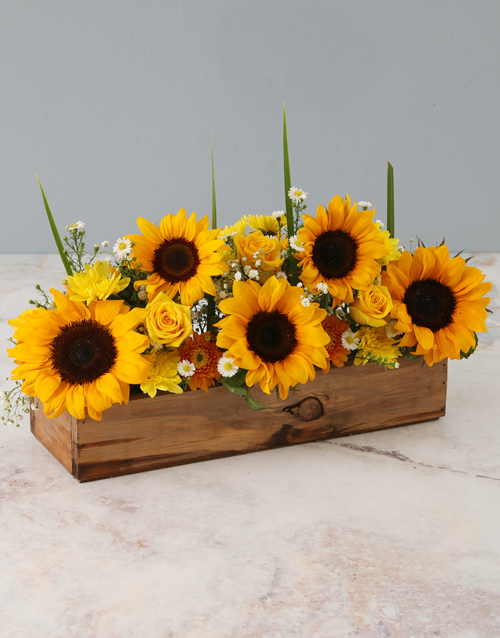 eid: Sunny Florals In Wooden Crate!