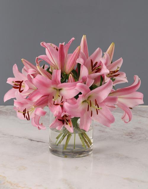 teachers-day: Stargazer Lilies in Cylinder Vase!