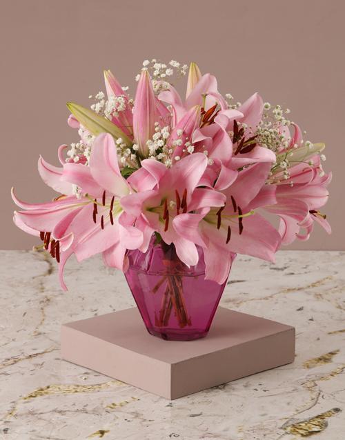 teachers-day: Stargazer Lilies in Pink Vase!