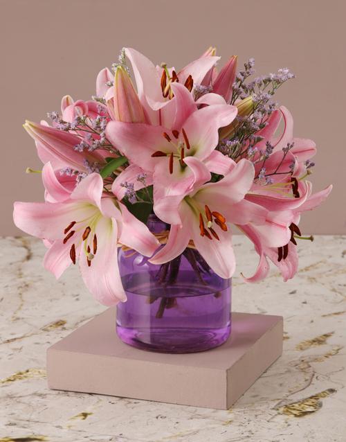 whats-new: Stargazer Lilies in Purple Vase!