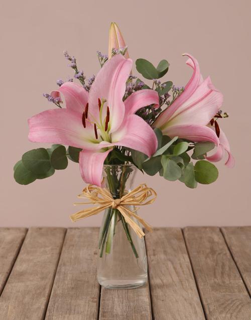 vase: Stargazer Lilies in Hourglass Vase!
