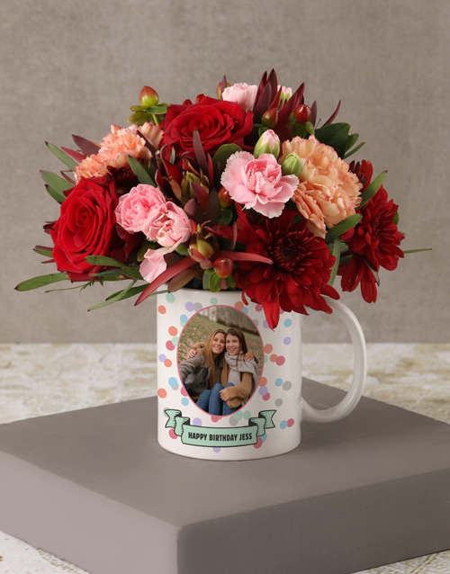 whats-new: Personalised Birthday Flowers in Polka Dot Mug!