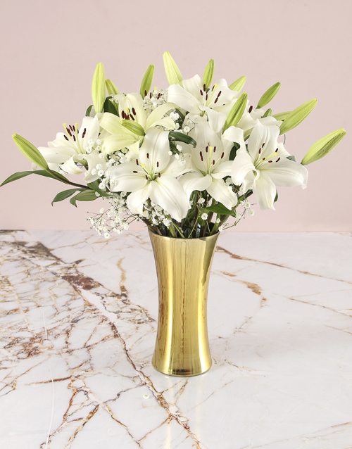 christmas: Asiflorum Lilies In Gold Vase!