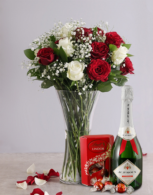 vase: White and Red Rose Regal Gift!