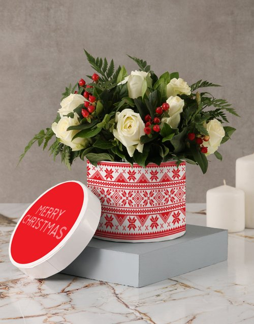 roses: Christmas Time White Rose Hatbox!