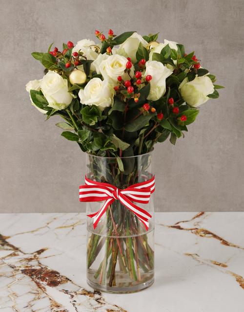 roses: Tis The Season White Rose Bouquet!