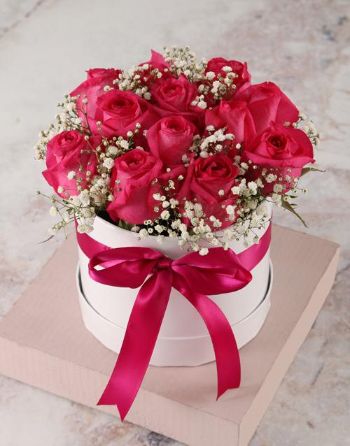 roses: Stunning Cerise Rose Hat Box!