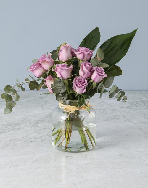 roses: Jar of Lilac Roses!