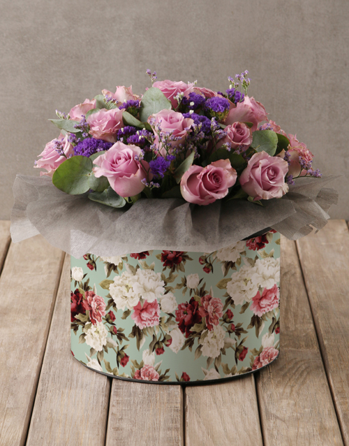 teachers-day: Lilac Roses in Floral Hatbox!