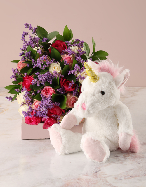 baby: Bright Roses Bouquet and Unicorn Plush Toy!
