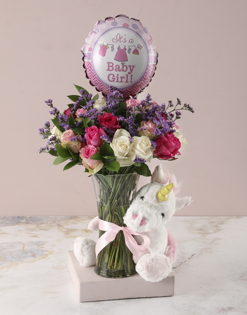 baby: Baby Girl Floral Arrangement and Unicorn Plush!