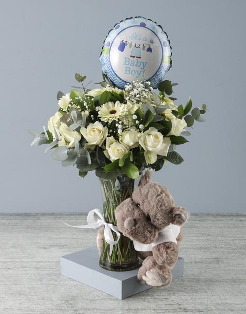 vase: Baby Boy Floral Arrangement and Rhino Plush!