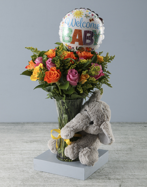 vase: Welcome Baby Floral Arrangement with Elephant Plus!