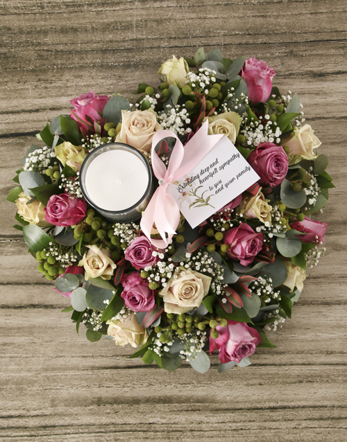 sympathy: Lilac and Cream Roses Sympathy Heart Wreath!