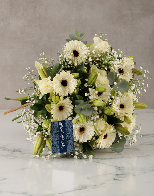 sympathy: With Sympathy Lilies and Roses Arrangement!