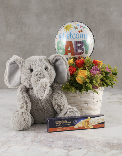 baby: Mixed Roses Welcome Baby Basket!