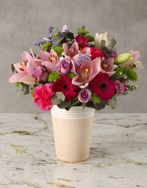 mixed: Candyfloss Pink Mixed Blooms Arrangement!