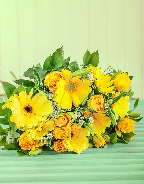 bouquets: Yellow Rose and Gerbera Bouquet!