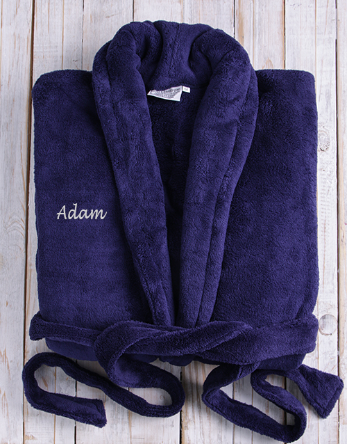 winter: Personalised Dark Blue Fleece Gown!