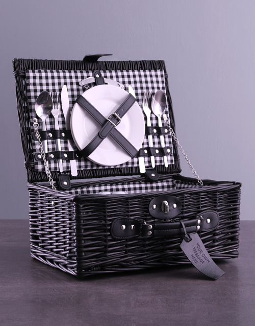 bosses-day: Personalised Own Message Black Picnic Basket!