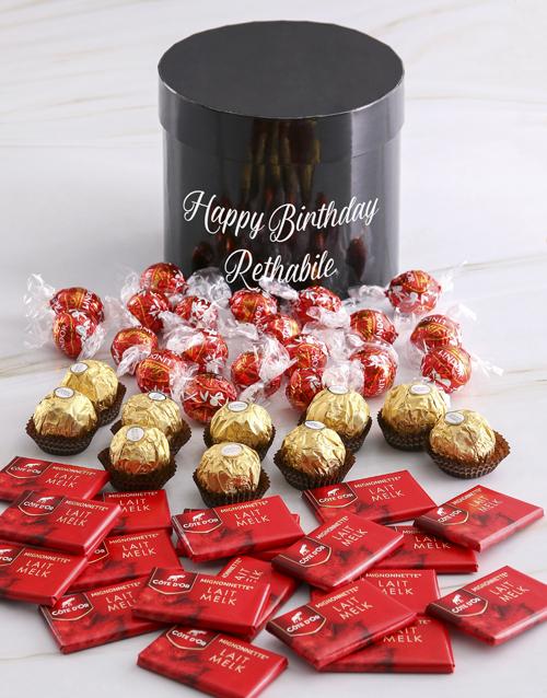 birthday: Personalised Assorted Birthday Mixed Choc Hat Box!