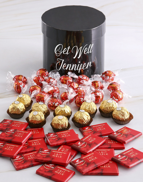 get-well: Personalised Assorted Get Well Mixed Choc Hat Box!