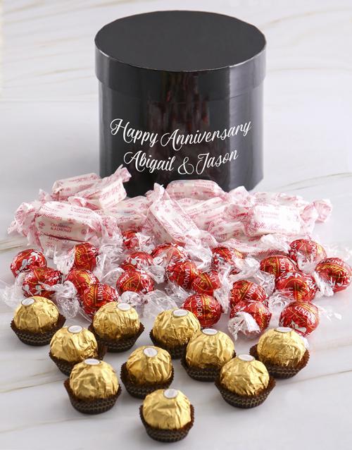 chocolate: Personalised Assorted Anniversary Choc Hat Box!